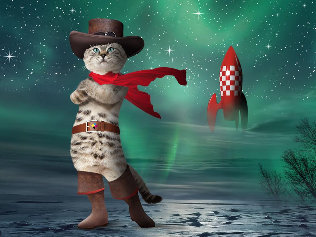 Un chat debout devant une fusée se décoller