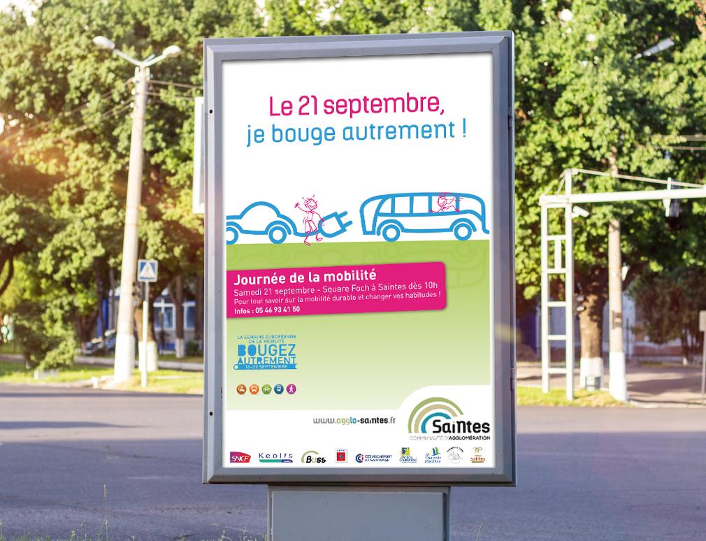 Création et conception par l'agence de communication CHAT BOTTÉ des supports de communication pour la journée de la mobilité pour la CDA de Saintes