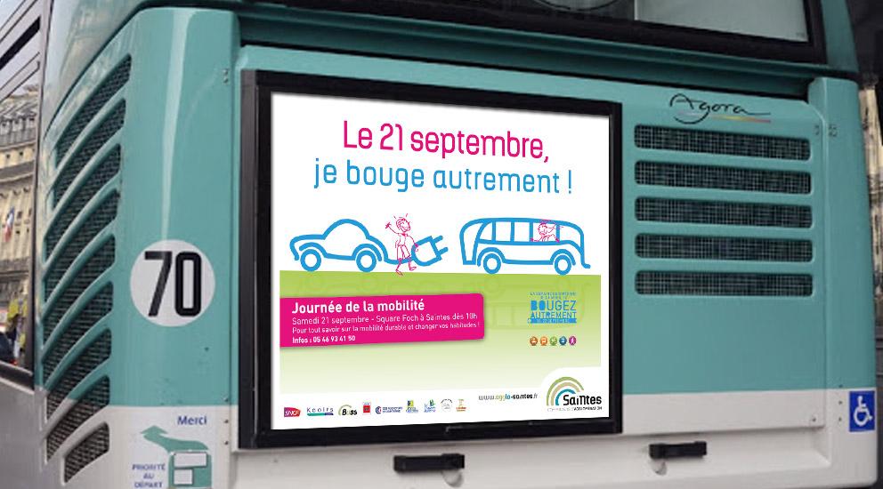L'agence de publicité CHAT BOTTÉ en Charente-Maritime conçoit les supports de communication pour la journée de la mobilité pour la CDA de Saintes