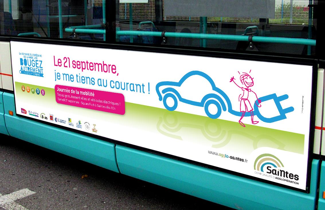 Création et conception par l'agence de communication CHAT BOTTÉ à proximité de Rochefort des supports de communication pour la journée de la mobilité pour la CDA de Saintes