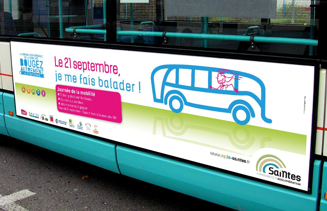 Création et conception par le studio graphique CHAT BOTTÉ des supports de communication pour la journée de la mobilité pour la CDA de Saintes