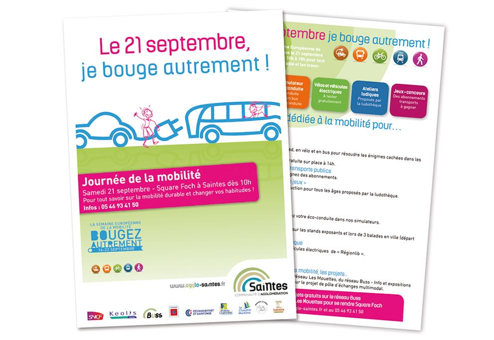 Le studio graphique CHAT BOTTÉ à Rochefort à conçut les supports de communication pour la journée de la mobilité